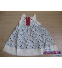 Đầm hoa xanh trắng nơ sau lưng