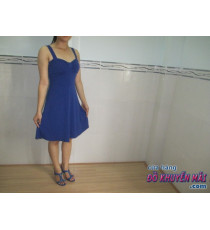 Đầm thun nữ 2 dây xk sz S xanh