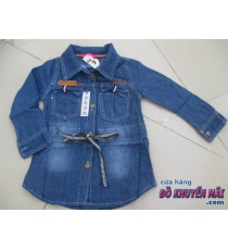 Áo jean mềm cột eo bé gái