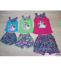 Bộ áo thun + quần đùi vải hoa bé gái