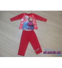 Bộ thun tay dài bé gái Anna&Elsa màu đỏ sz 1