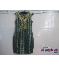 Đầm cao cấp cho nữ hoa văn xanh