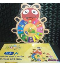 Đồng hồ bằng gỗ hình con bọ cho bé chơi và học