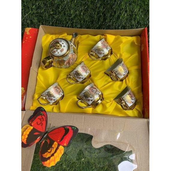 Bộ tách trà sứ nhũ vàng Omo tặng